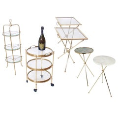 Selection of Brass Serving Tables and Cart for Entertaining