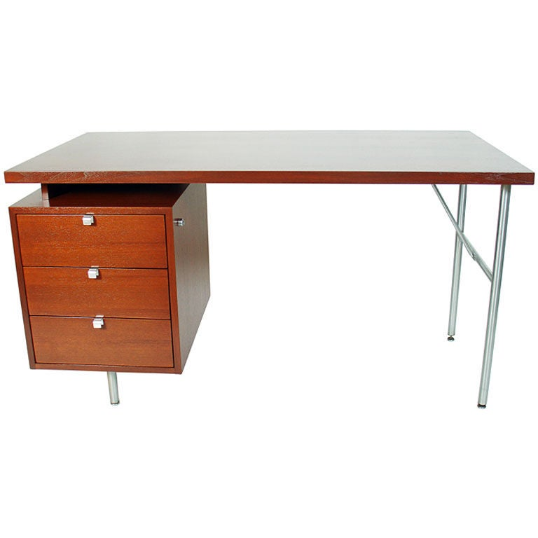 clean lined modern desk by george nelson for herman miller