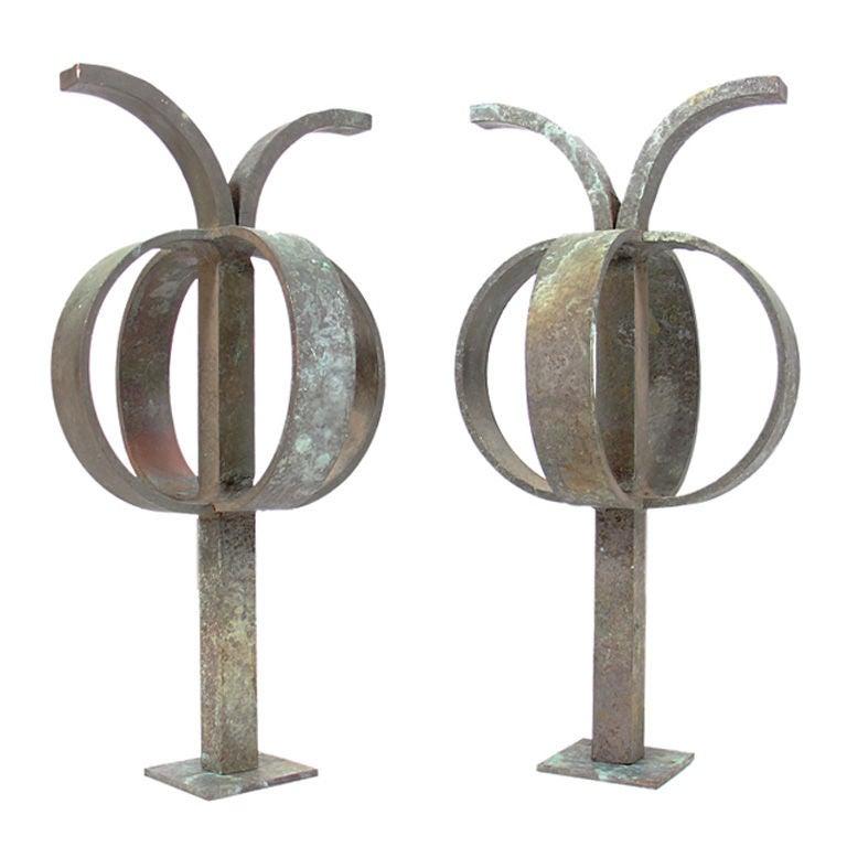 Pair of Sculptural Bronze Andirons