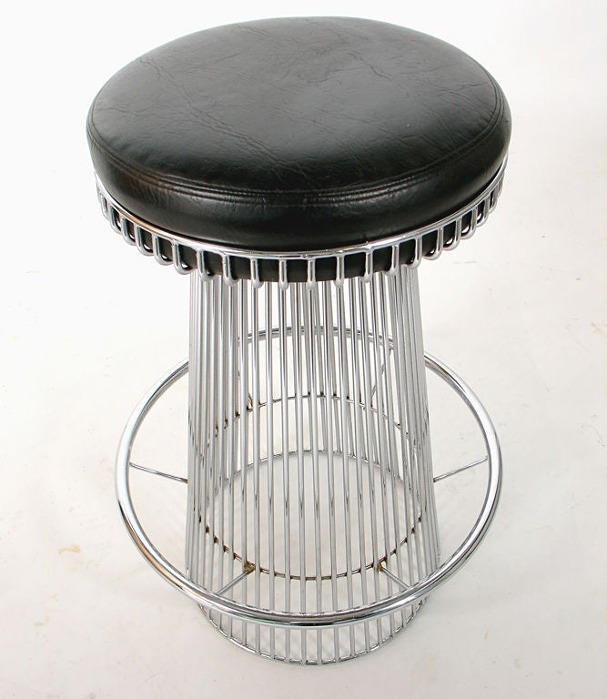 Pair Of Sculptural Chrome Bar Stools After Warren Platner