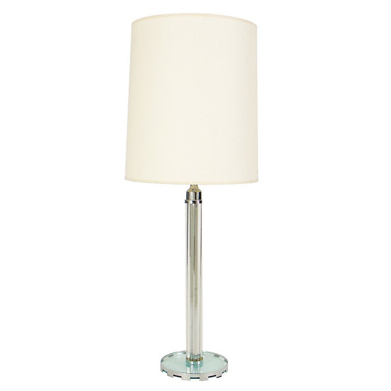 Art Deco Nickel Plated and Glass Rod Skyscraper Table Lamp