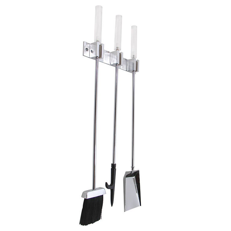 Wall Mounted Lucite And Chrome Fire Tool Set At 1stdibs