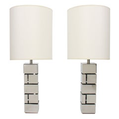 Pair of Geometric Chrome Lamps