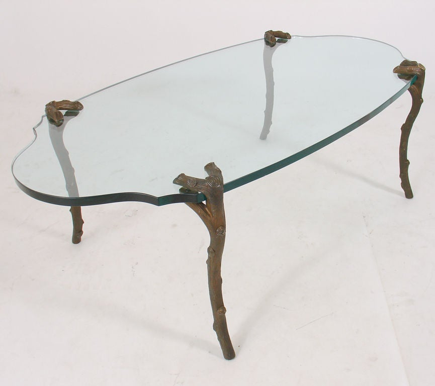 Coffee Table With Bronze Legs: Coffee Table With Bronze Branch Form Legs By P.E. Guerin