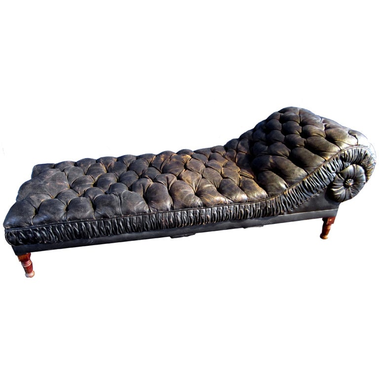 tufted leather chaise lounge at 1stdibs