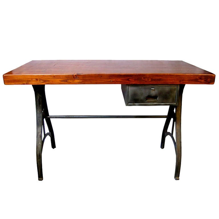 Industrial Table With Cast Iron Legs At 1stdibs