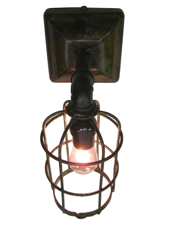 Wall Sconce With Cage : industrial cage wall sconce at 1stdibs