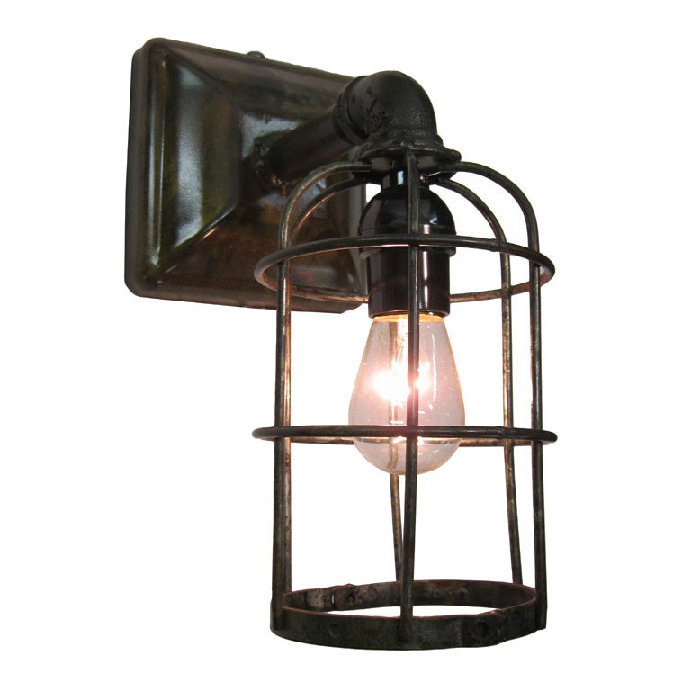 Wall Sconces Industrial : industrial cage wall sconce at 1stdibs