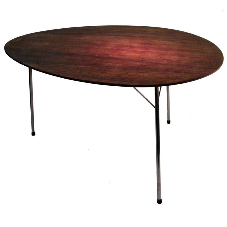 3 Legged Rosewood Egg Table By Arne Jacobsen For Fritz