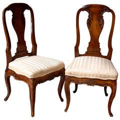 Remarkable Pair of 18th Century French Canadian Side Chairs
