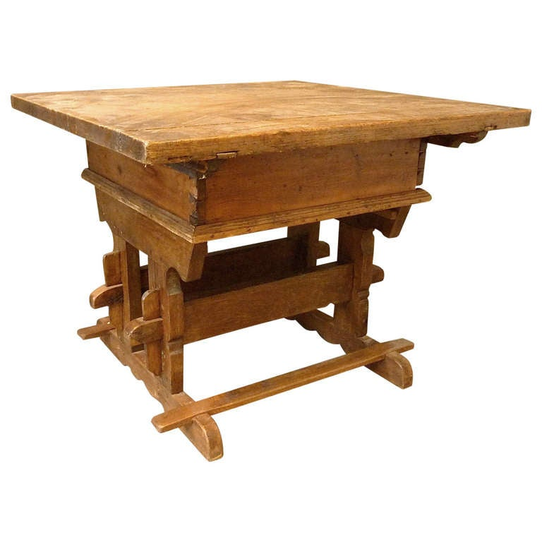 Rare 18th Century Swiss Trestle Table For Sale