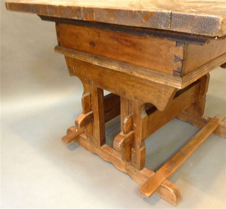 Gothic Rare 18th Century Swiss Trestle Table For Sale