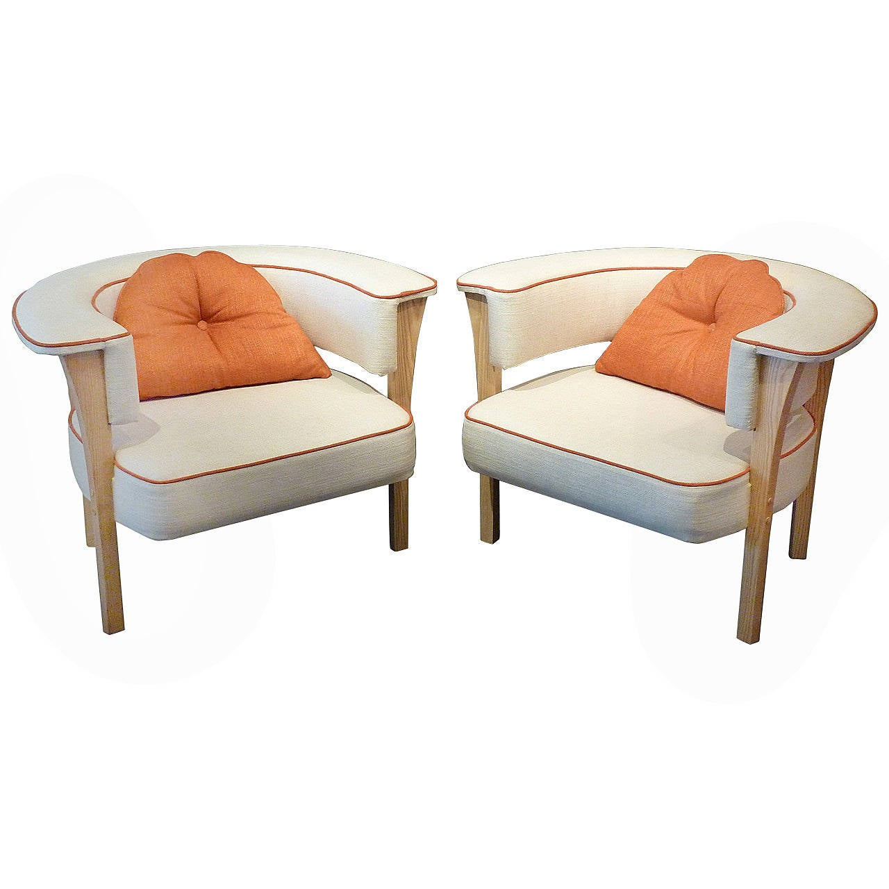 Unusual pair of mid century modern armchairs for sale at for Mid century modern armchairs