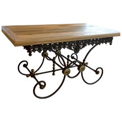 19th Century French Provincial Cast Iron Butcher's Table .
