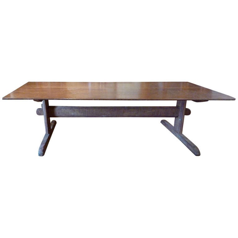 Large Rustic Scandinavian Trestle Table 1