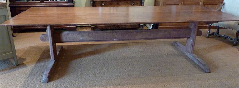 Large Rustic Scandinavian Trestle Table Polished Pine Top Over Base And Stretcher