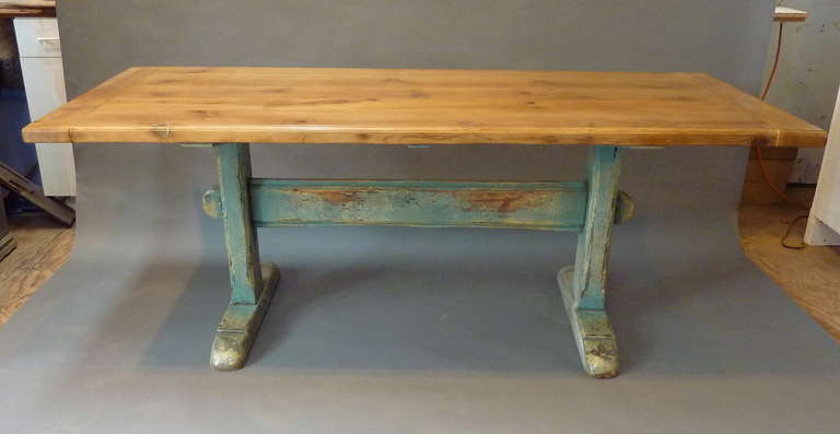 19th Century Scandinavian Painted Trestle Table Molded Pine Top Faded To A Warm Golden Color