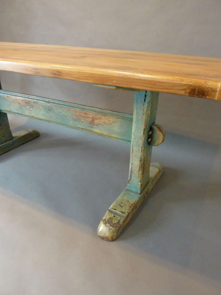 Rustic 19th Century Scandinavian Painted Trestle Table For Sale