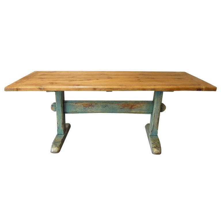 19th Century Scandinavian Painted Trestle Table For Sale