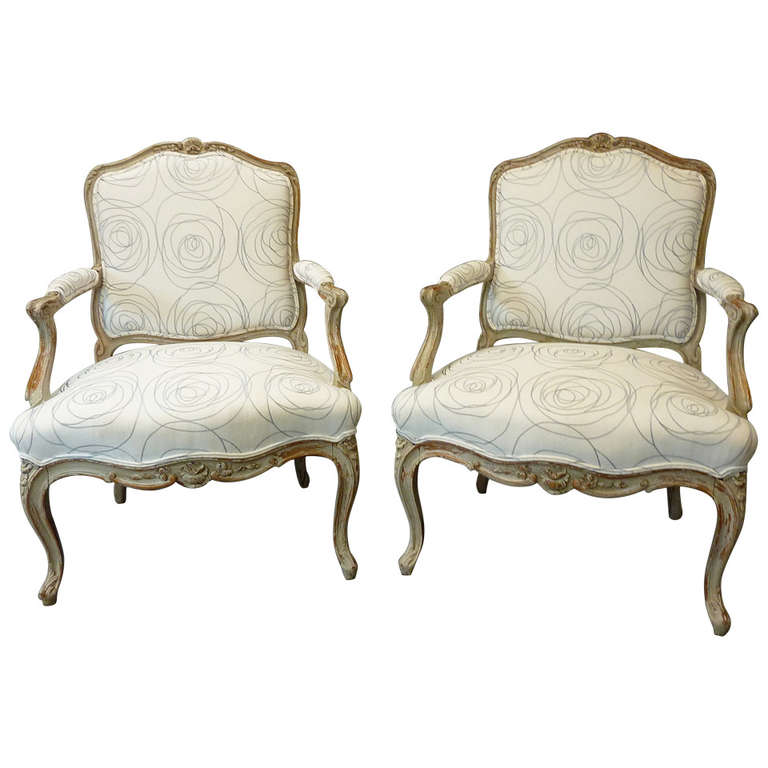 Pair Of Louis Xv Style French Provincial Armchairs At 1stdibs