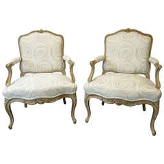 Pair of Louis XV Style French Provincial Armchairs