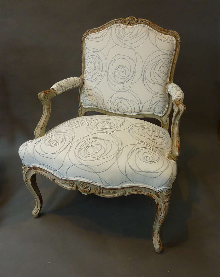 Pair of Louis XV Style French Provincial Armchairs For