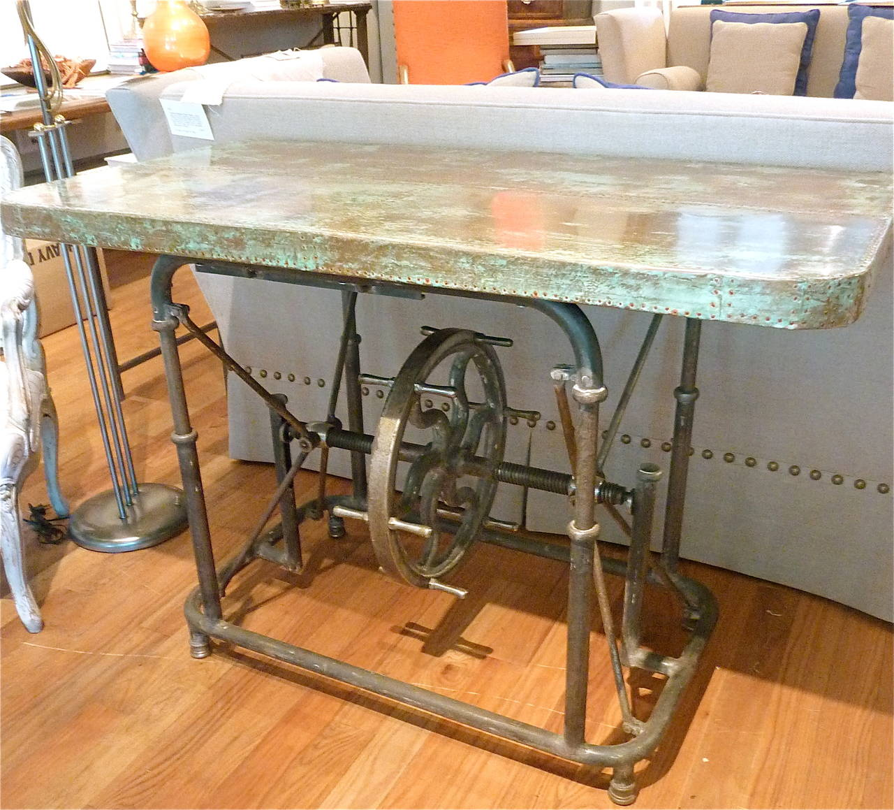 Copper Top Kitchen Table Unusual Industrial Steel Table With Patinated Copper Top At 1stdibs