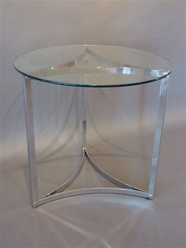 Mid century modern italian chrome center table with round for 13 inch round glass table top