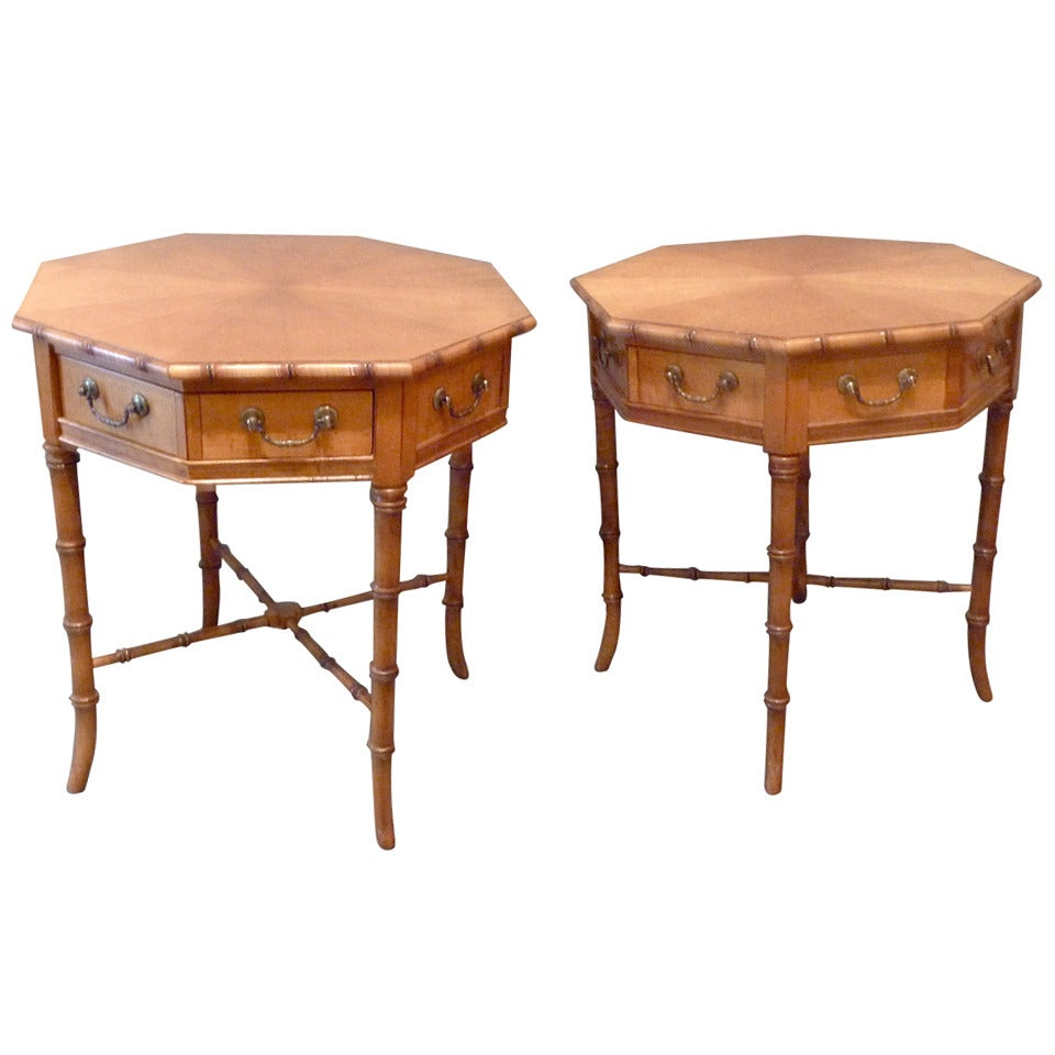 Pair of octagonal faux bamboo side tables at 1stdibs for Bamboo side table
