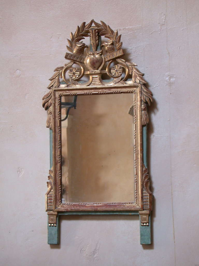 Small french provincial louis xvi style gilt mirror for for Small wall mirrors for sale