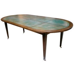 unusual louis xvi style oval dining table with copper top