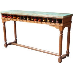 19th Century Clerks Desk With Copper Top And Wine Rack