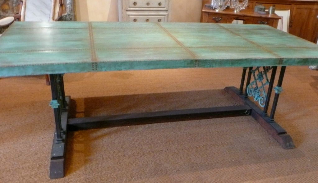 tuscan styled copper trestle table at 1stdibs