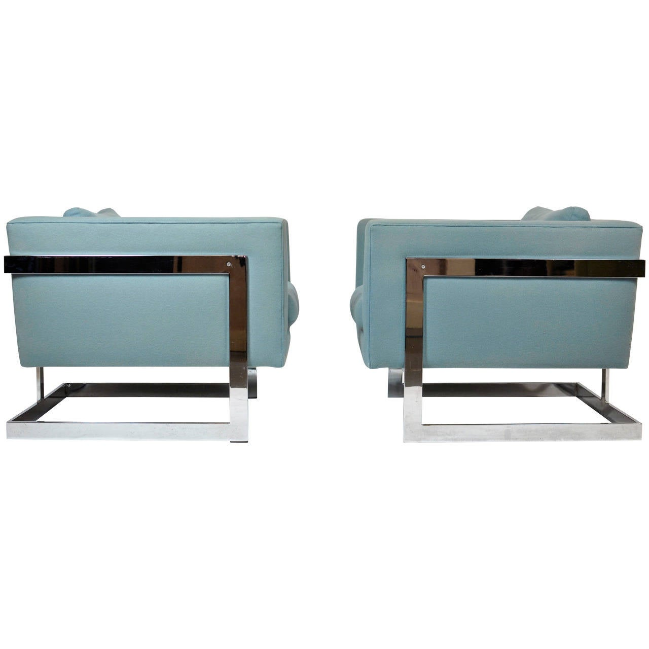 Milo Baughman Large Cube Lounge Chairs