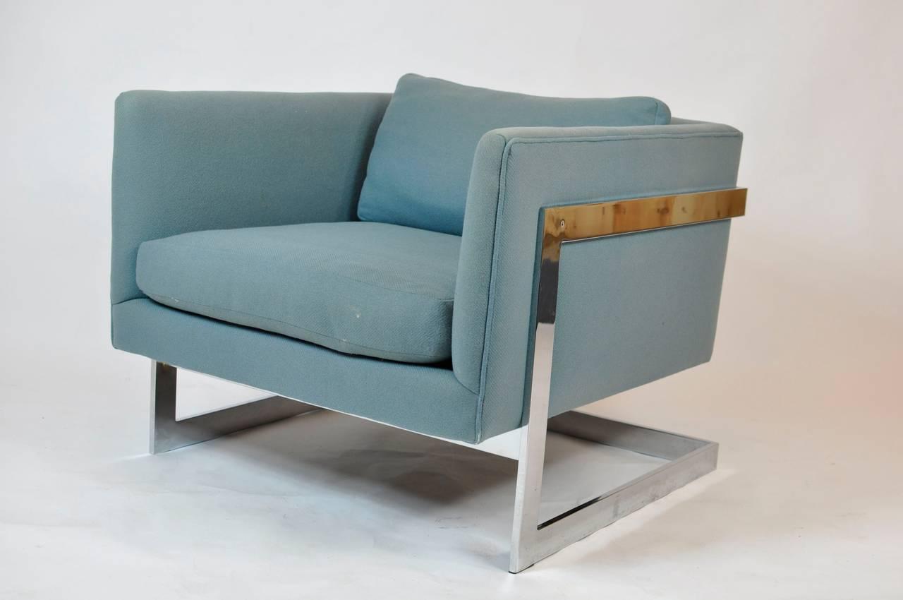 Milo Baughman Large Cube Lounge Chairs 4