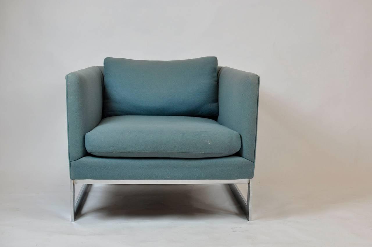 Milo Baughman Large Cube Lounge Chairs 5