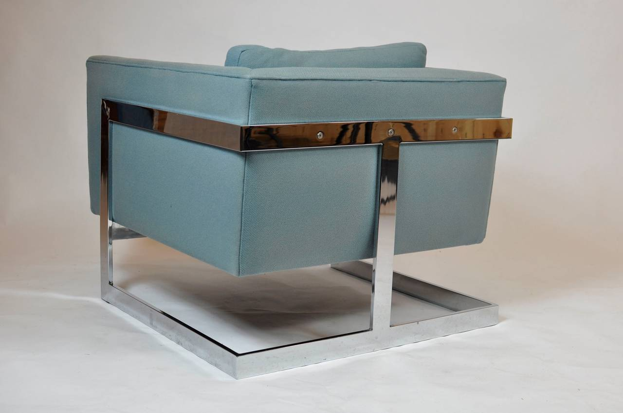 Milo Baughman Large Cube Lounge Chairs 3