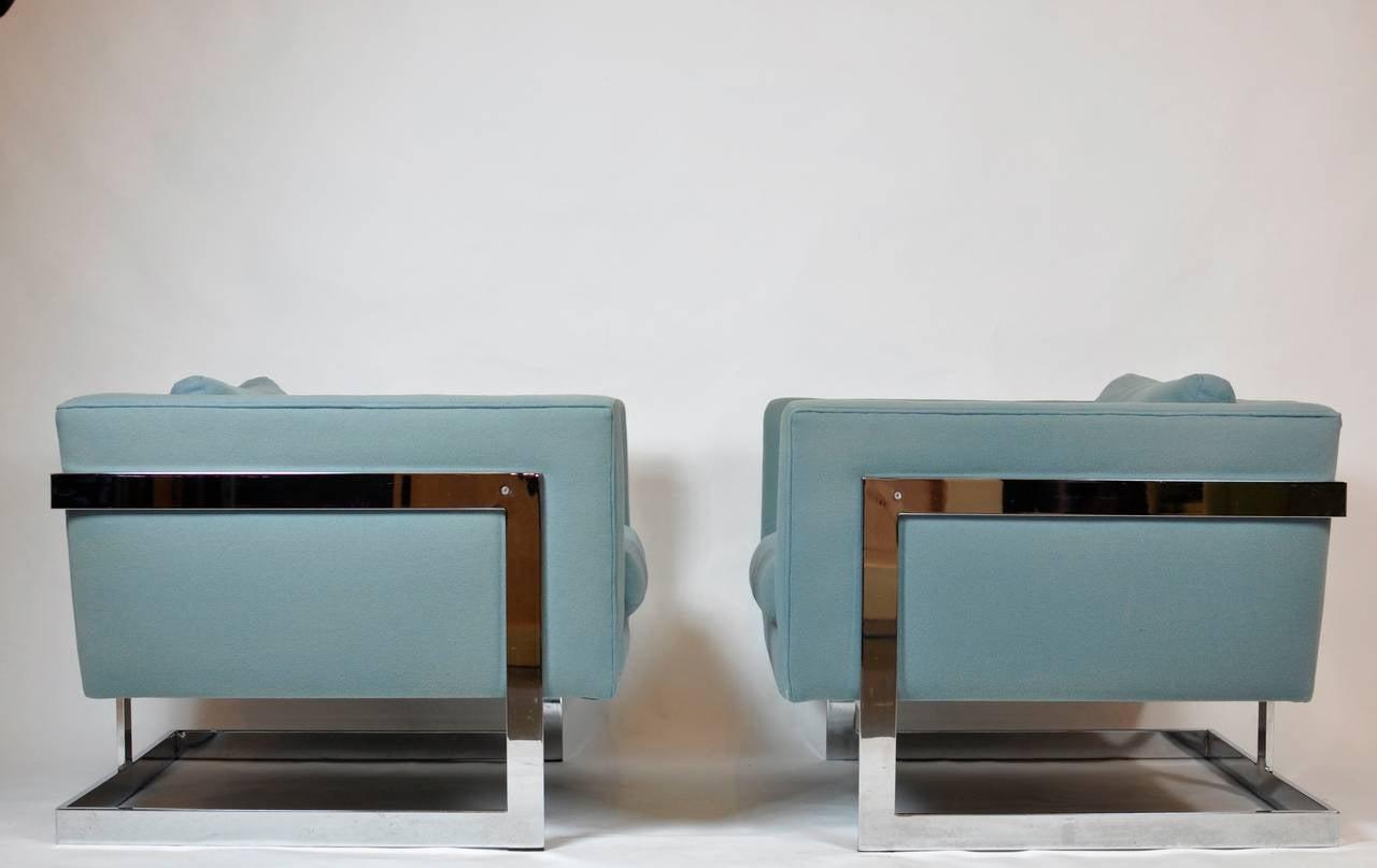 Milo Baughman Large Cube Lounge Chairs 2