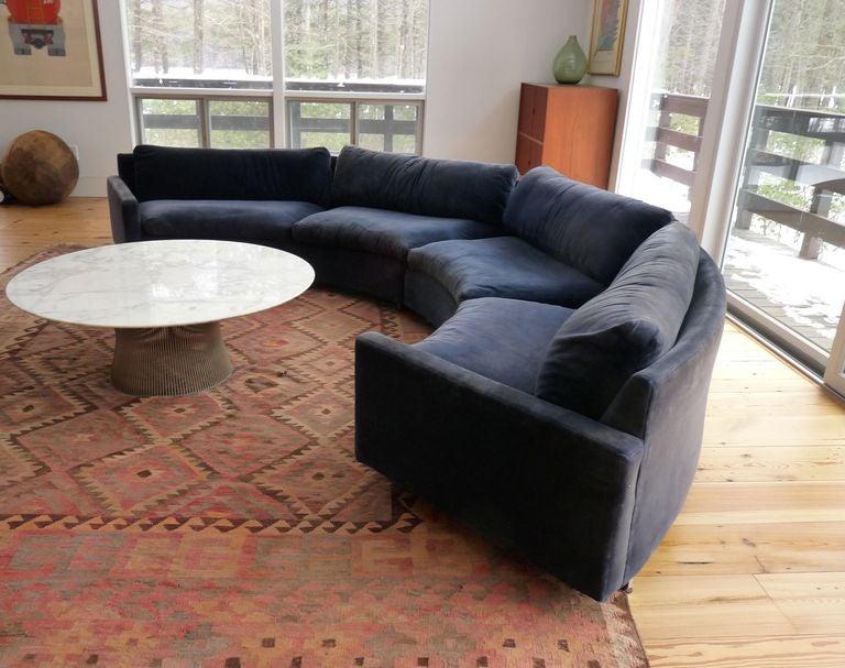 Superbe Milo Baughman Two Piece Curved Sectional Sofa. Sofa Sits On Recessed Chrome  Stretchers. Rare