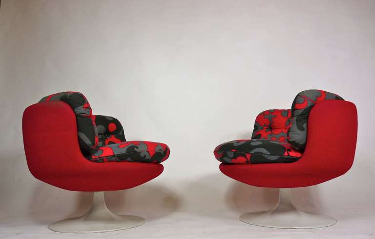 Vintage 1970 Swedish swivel pop chairs.