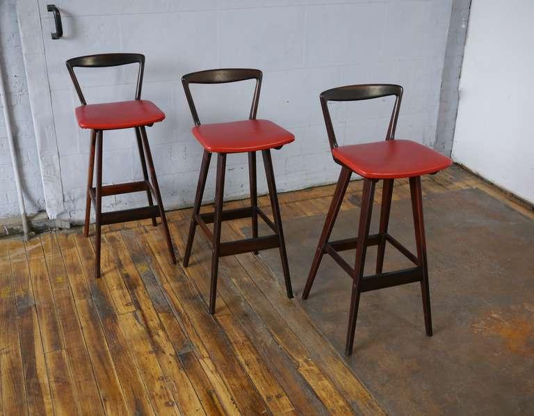 Set Of Three Rosewood Bar Stools By Rosengren Hansen At