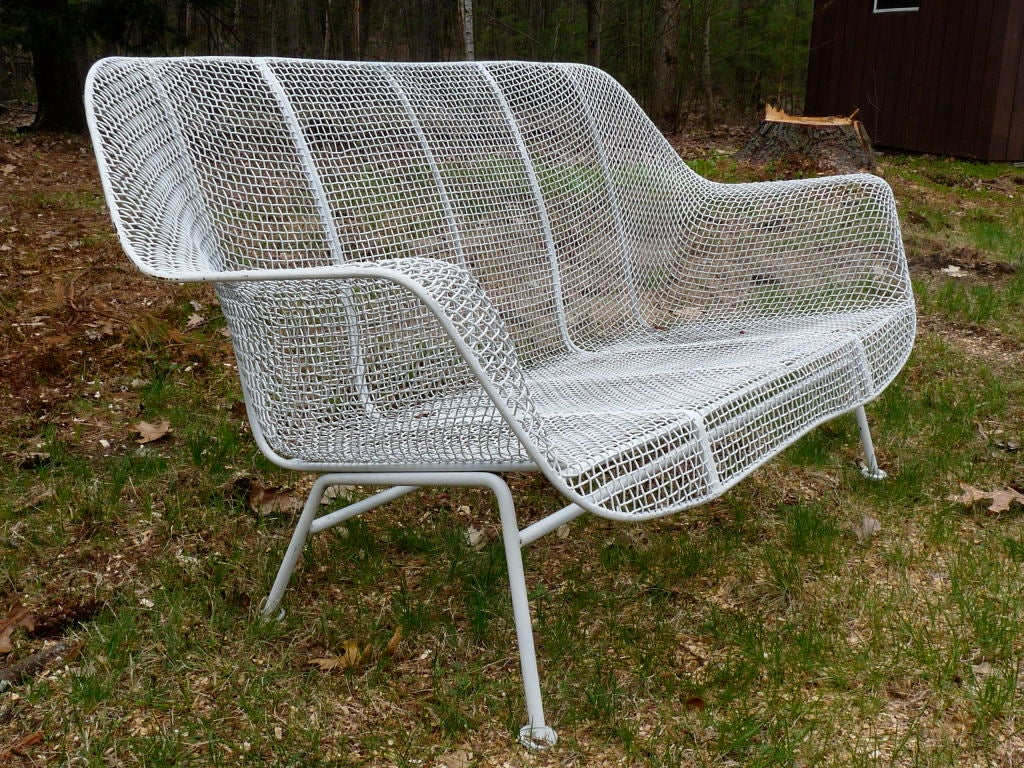 Wire Mesh Settee And Pair Spring Lounge Chairs By Woodard At 1stdibs
