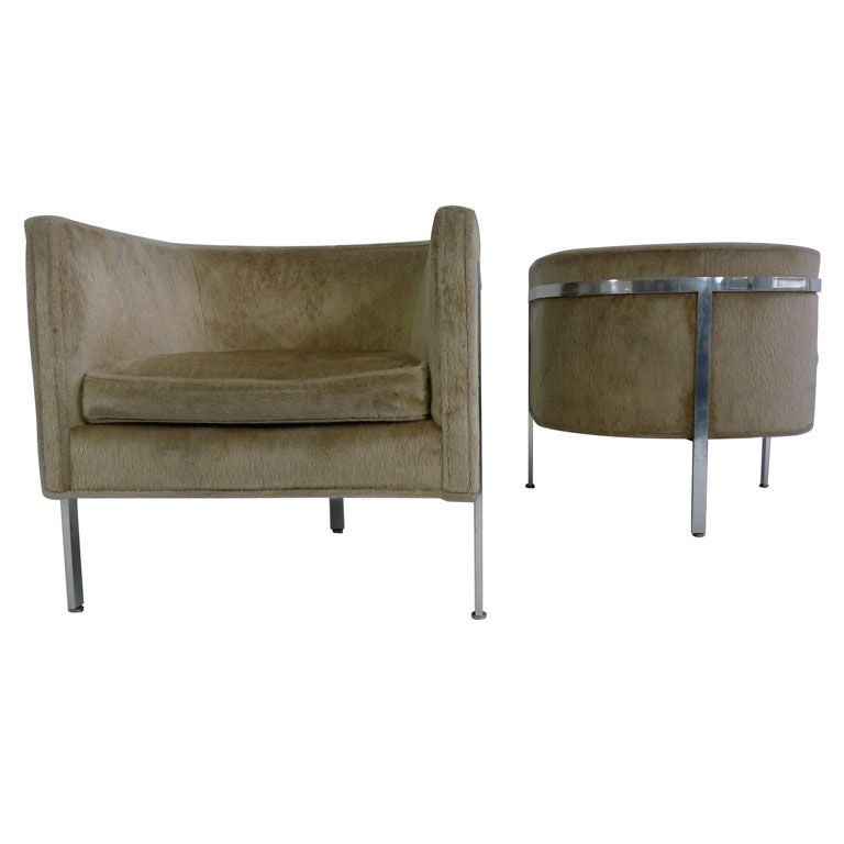 Pair harvey probber curved back lounge chairs at 1stdibs for Curved lounge