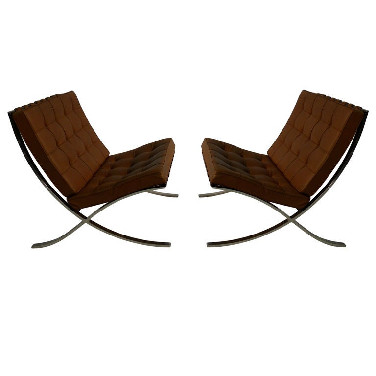 pair mies van der rohe barcelona chairs for knoll at 1stdibs. Black Bedroom Furniture Sets. Home Design Ideas