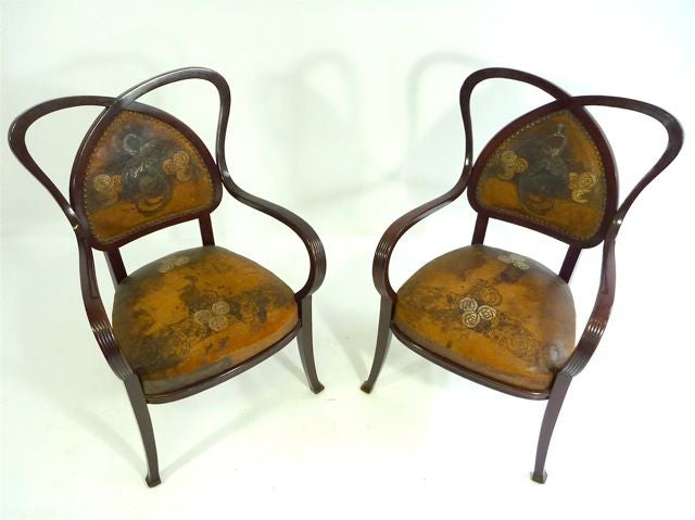 Pair Art Nouveau Thonet Arm Chairs At 1stdibs
