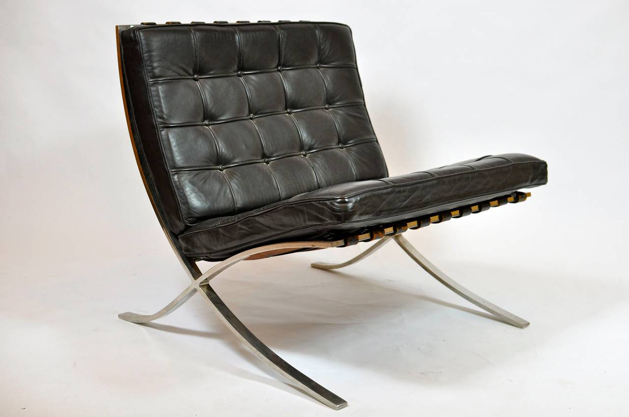 Pair Of Early Barcelona Chairs By Mies Van Der Rohe For