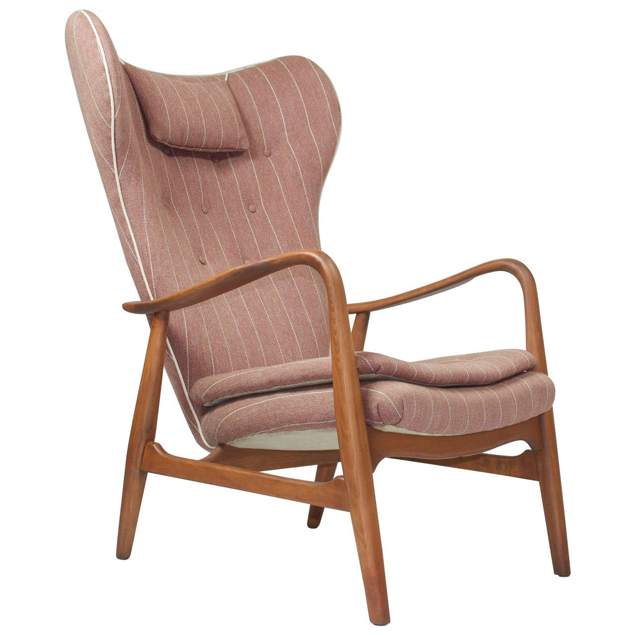 Madsen And Schubell High Back Danish Lounge Chair For Sale