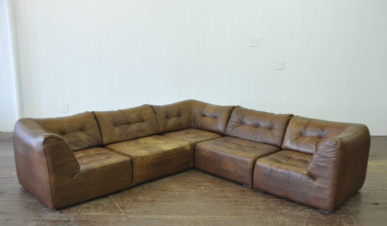 vintage de sede 5 piece leather sofa at 1stdibs. Black Bedroom Furniture Sets. Home Design Ideas