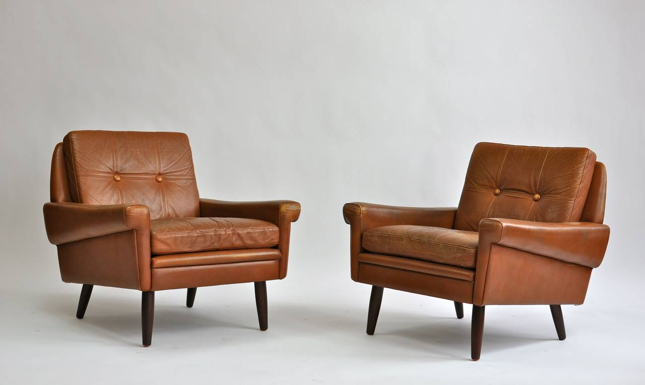 Pair Of 1960s Leather Lounge Chairs By Svend Skipper.