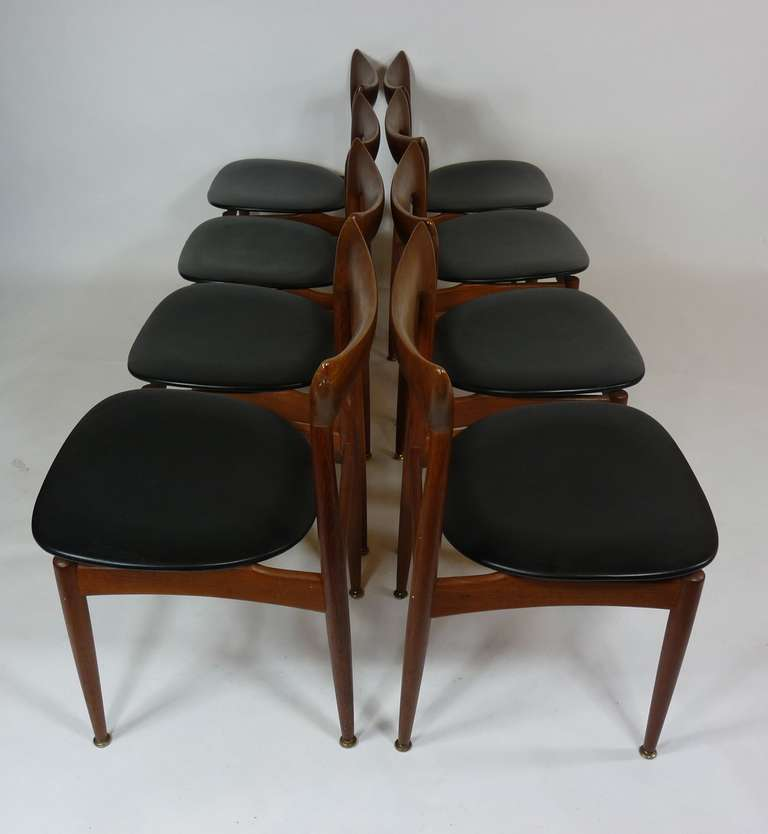 Mid-Century Modern Set of Eight Teak Danish Dining Chairs by H. W. Klein For Sale